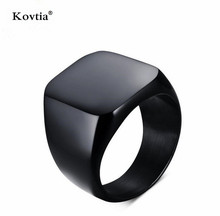 New Design Titanium Steel Accessories Punk Smooth Mens Black Jewelry Wide Finger Ring For Men Wedding