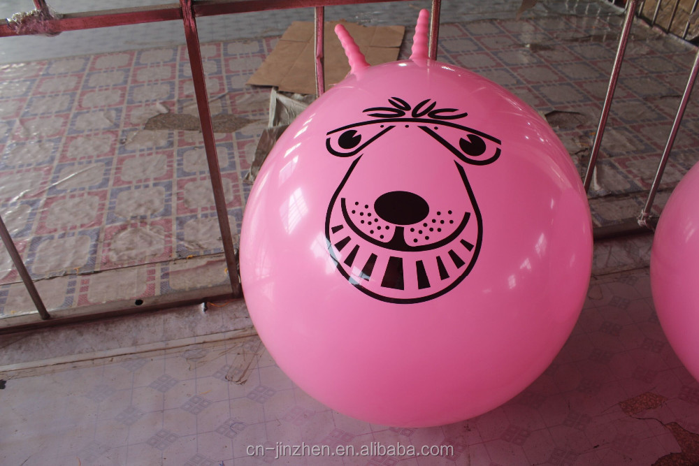 Eco-friendly Multifunctional infltable printing 45cm handle jumping ball for kids