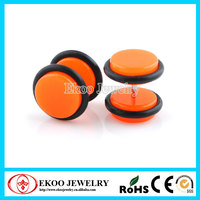 Neon Orange Acrylic Cheater Plug with O-Rings Fake Tunnel Earrings