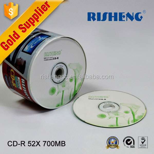 RISENG blank CD-R 52X hard disk/printed 52x 700MB vinyl record disc/cd disc blank with lily printing wholesale