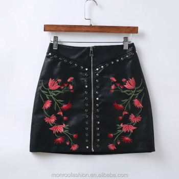 Monroo New Women Vintage Rivets Embroidered PU Leather Skirt Sexy Slim Short Punk Pencil Skirts Zipper Mini Skirt QUN006