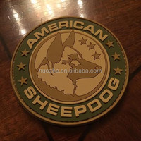 Wholesale Custom 3D American Sheepdog Logo soft PVC patch with velcro back