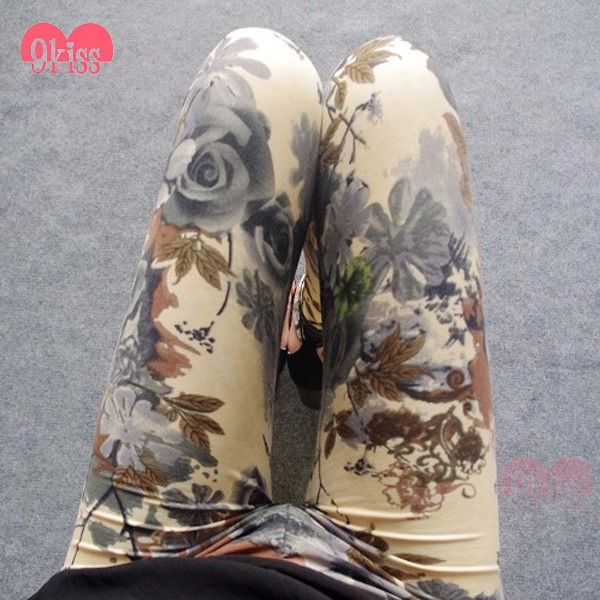 Chinese Supplier ink and wash Painting Peach Skin Leggings