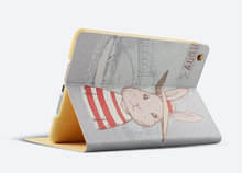 Rabbit Hat Painting Leather Case For iPad Air 2, For iPad Case Air 2 , for iPad Leather Case