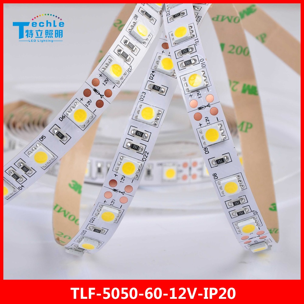 5050 Flexible LED Strip dc12v 60 led meter non-waterproof IP20 Single color lighting ce rohs 3Years warranty