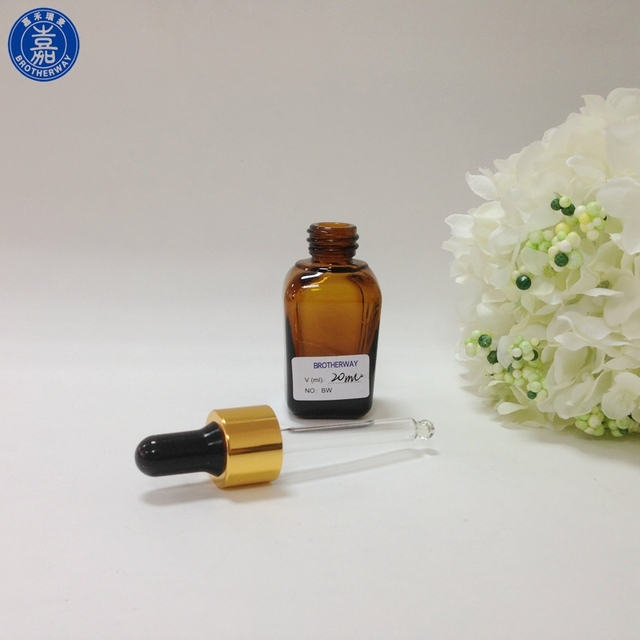 30ml 50ml eye face essential oil cosmetic packaging amber square glass dropper bottle