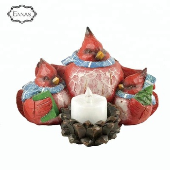 Resin Red Cardinal Bird Home with Candlestick for House