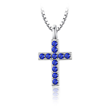 JewelryPalace Cross 0.18ct Created Blue Spinel Pendant Necklace 925 Sterling Silver