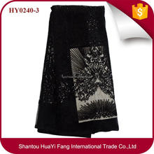 Black sequins lace for show african tulle lace dubai HY0240