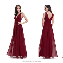 Hot Sale Deep V-Neck Chiffon Full Length Women Sexy Backless Long Prom Dress