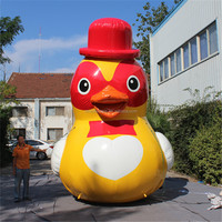 outdoor giant advertising airblowing cartoon characters yellow duck toys inflatable for sale