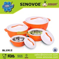 Stackable 4pcs set stainless steel and PP material thermal food containers
