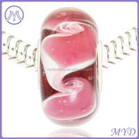 Pink Color Lampwork Glass Bead For