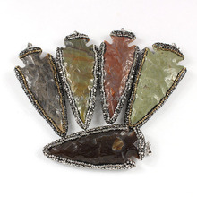JF6918 Crystal Pave Large Hand Carved Jasper Stone Arrow head Arrowhead pendants,Arrow Head Charms