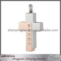 High Quality Rose Gold And Silver Two Tone Stainless Steel Catholic Cross Cremation Keepsake Urn Stone Pendant To Holder Ashes