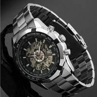 Fashion Winner Stainless Steel Skeleton Mechanical Watch For Man Gold automatic Wrist alloy Watch