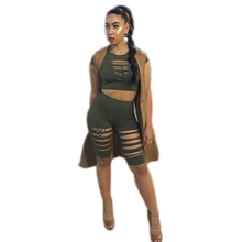 Wholesale Rompers Women Jumpsuit 2016 New Hole Design Short Sleeve Bodycon Two piece Jumpsuit Crop Top& Short Pants Playsuit