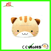 Hot sale 35cm brown cat face plush round cushion for sofa