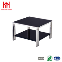 Square Black Coffee Table With Chromed Metal And Glass