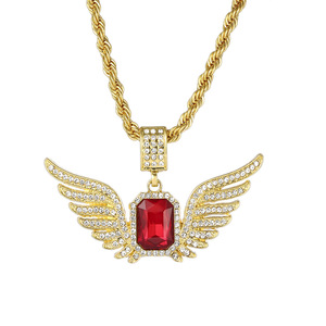 XH067 JN Angle wings ruby CZ paved pendant necklace Wholesale hip hop jewelry