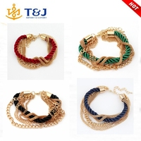 >>>>2016 Yiwu Wholesale Cheap Luxurious Hand-woven Rope Bracelet Multilayer Metal Chain Bracelet