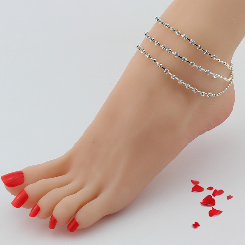 Good Quslity Beads Tassel Imitation Rhinestone Anklet Multilayer Foot Ornaments Women Wedding Jewelry For Gift