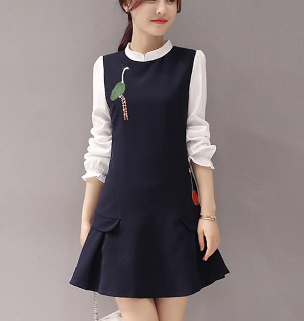 zm32536a fashion pictures women formal office dress casual embrodiery long sleeve dresses for ladies