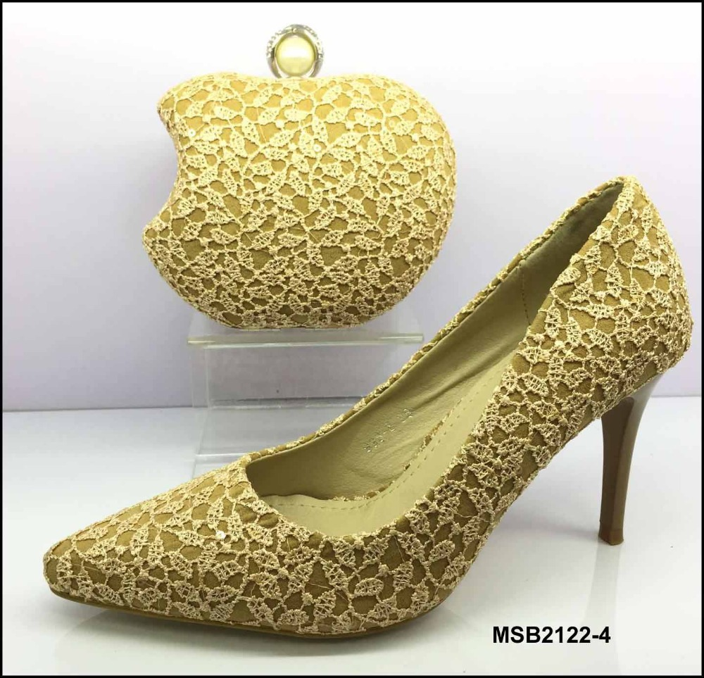MSB2122-4 Special design lace material shoes and clutch bag 2017 wedding Italy low heels with purse