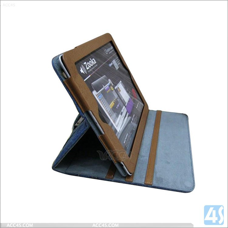 High quality Cowboy style Jeans leather case for ipad 2/3/4