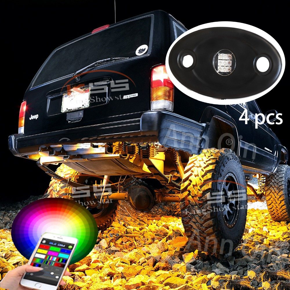 RGB LED Rock Lights Bluetooth Multicolor Neon LED Light Kit with 4 Pods Lights for Jeep Off Road Truck Car ATV SUV