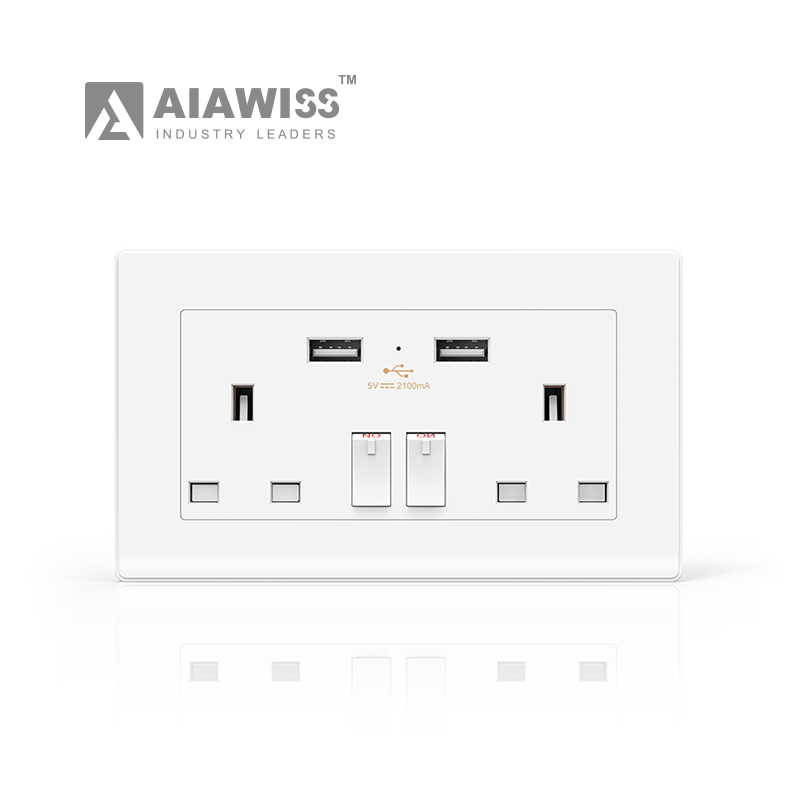 AIAWISS 5V/2.1A Hot sales UK Socket UK type double 3 pin wall switch sockets electrical usb outlets