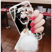2018 Bear Ring Stand Mirror fur Capa Case For Iphone 5 8 8 plus 6 6S X 7 7 Plus Fur Ball Pendant Tassel Soft TPU Cover Case