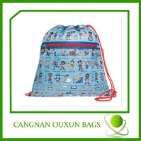 Colorful drawstring bag with front zipper pocket