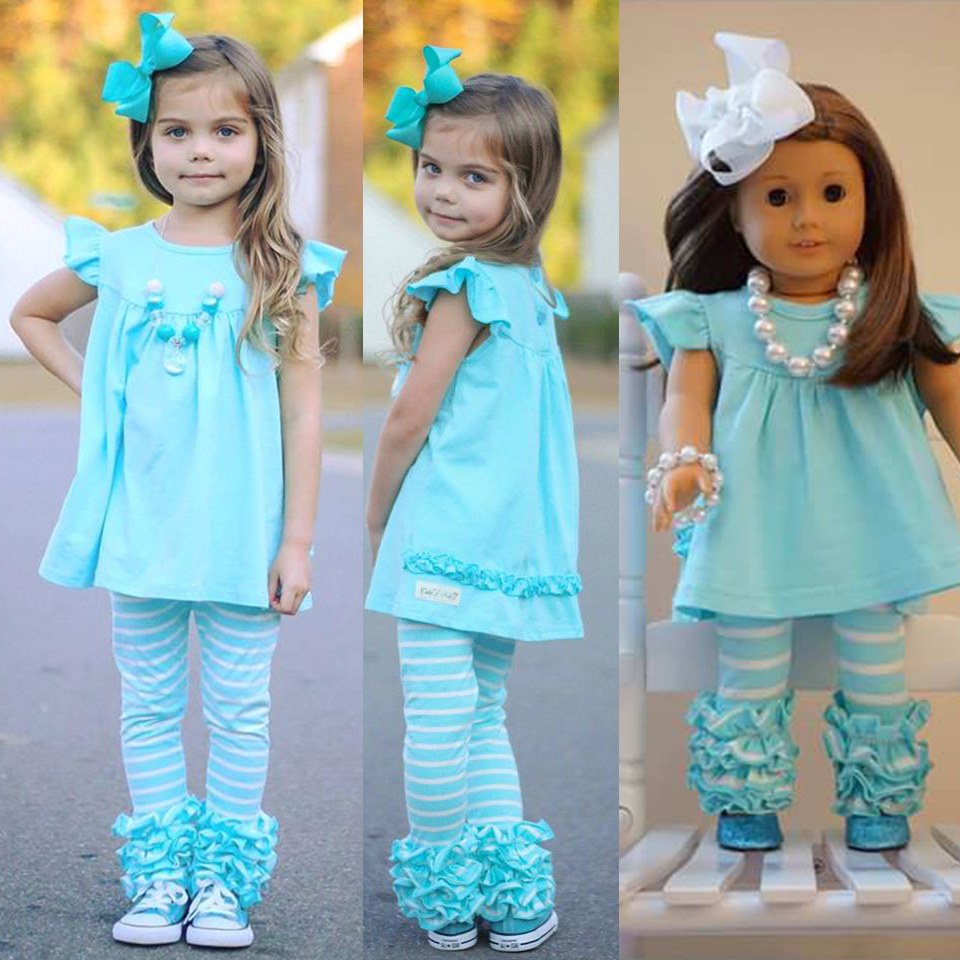 lovely wholesale boutique kid clothing new designed baby icing ruffle flutter sleeve outfit doll clothing
