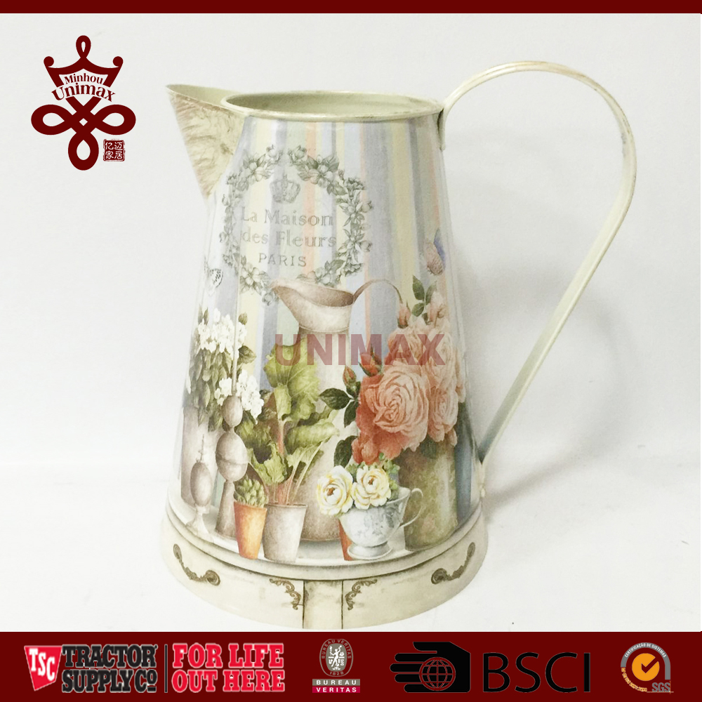 "Chic Victorian Style Vintage Shabby Tin/Metal Pitcher Decal Jug Decorative Metal Vase 8.2"" Medium"