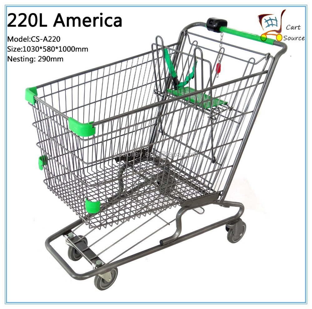 100L-270Liters American style shopping cart trolley