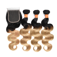Ombre 1b/27# Two Tone Body Wave Free Weave Brazilian Remy Natural Human Hair Extension Packs