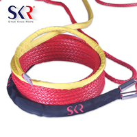 Customized''*Customized' Red UHMWPE synthetic winch rope with Hook/Sheath/Ring/Coat for SUV/ATV/UTV