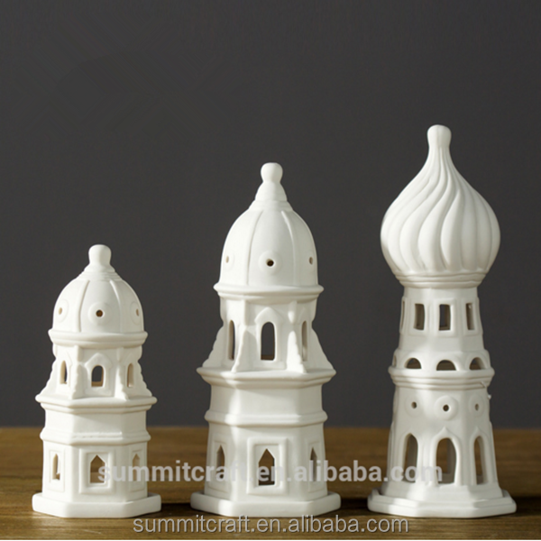 Concise style white castle light house ceramic candle holder