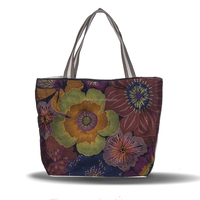 Linen Cotton Women Floral Embroidery Tote Bag Shopping Bag
