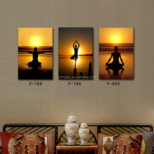 HD Printed Wall Decorations Interior Painting Cost 3 Panel Yoga Salon Fitness Center Wall Decor Large Art Canvas