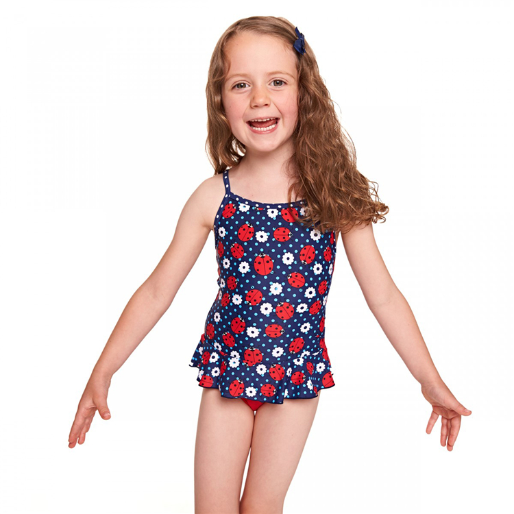 2017 Young Girls Sexy Swimsuit Ladybug X Back Swimdress