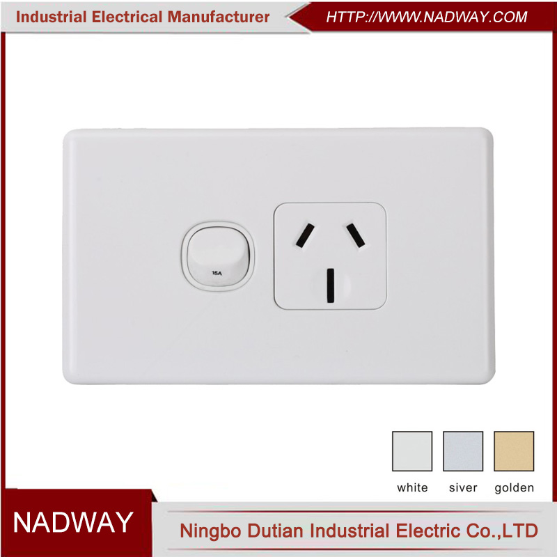 single point 1gang 1way electrical wall switched 15 amp socket