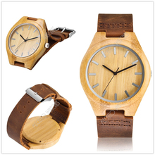 2017 Classical Bamboo Wooden Watch Women Wristwatches Leather Quartz Watch