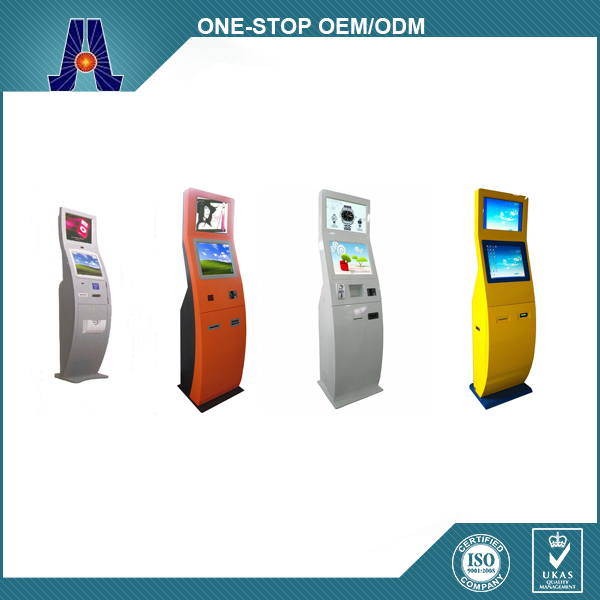 dual touch screen kiosk with queue management system