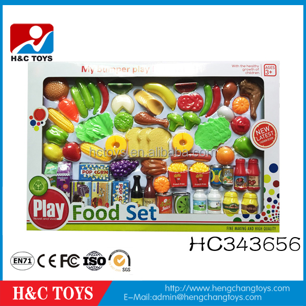 Kids educational toy plastic food toys pretend play toy food set 80pcs HC343656