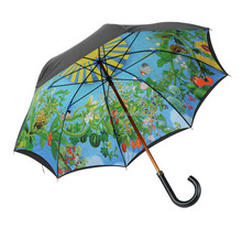promotional double layer wooden golf umbrella with inside full printing