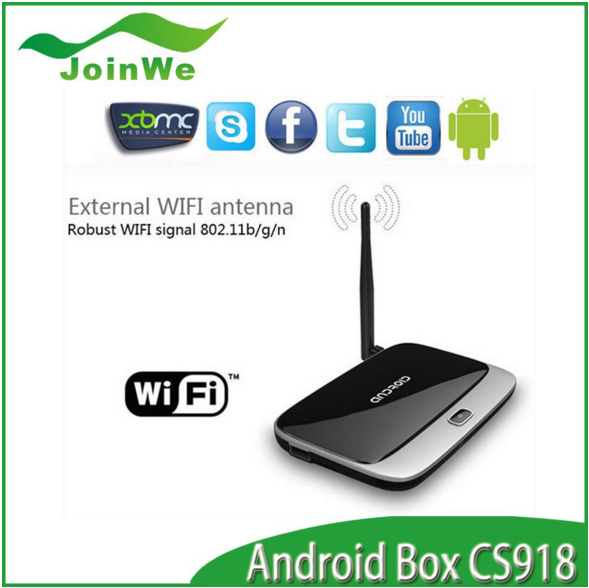 2016 Android 4.4 TV Box Q7 CS918 Full HD 1080P RK3188T Quad Core Media Player 1GB/8GB XBMC Wifi Antenna with Remote Control