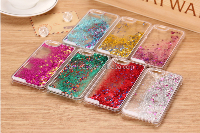 new glitter customized hard plastic material back cover cell phone case for Apple iPhones 6 with quicksand luxury design