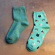 Customized Breathable Hot Child Tube Bright Color Cute Cat Socks